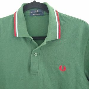 Fred Perry Shirts - Fred Perry green red colored medium pique polo